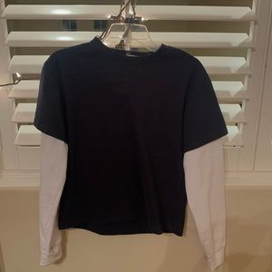 john galt blue tee with white sleeves attached